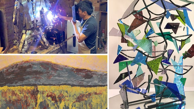 """Clockwise from top left: José Criollo welds """"The Hunter""""; Christine Croteau's  """"Three Deckers""""; Rebecca Duffy's """"Fields of Gold."""""""