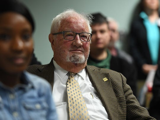 Jack McIntosh listens as Bobby Donaldson, who is the director of University of South Carolina Civil Rights Center, talks about the state's role in the civil rights movement during a gathering at the Anderson County Library on Thursday, February 1, 2018.