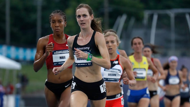 Molly Huddle runs to victory in the women's 10,000 meters at the 2018 USATF Outdoor Championships at Drake Stadium on June 21, 2018 in Des Moines, Iowa.
