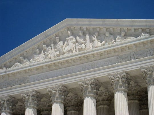 The west pediment of the U.S. Supreme Court building, designed by Robert Aiken.