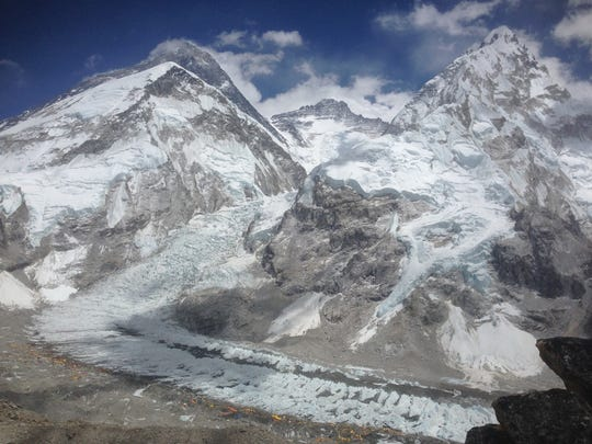 Loeb took a photo that shows the peaks -  Everest in the back, Lhotse in the middle, Nuptse on the right - and the icefall and base camp at the bottom.