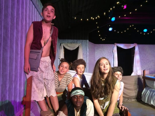 """From left: Max Zink, Zoe Zink, John Jordan, Curtis-Oliver Lane, Valorie Roberts, Ansley Roberts rehearse for the new production of """"Peter Pan"""" at the Cloverdale Playhouse."""