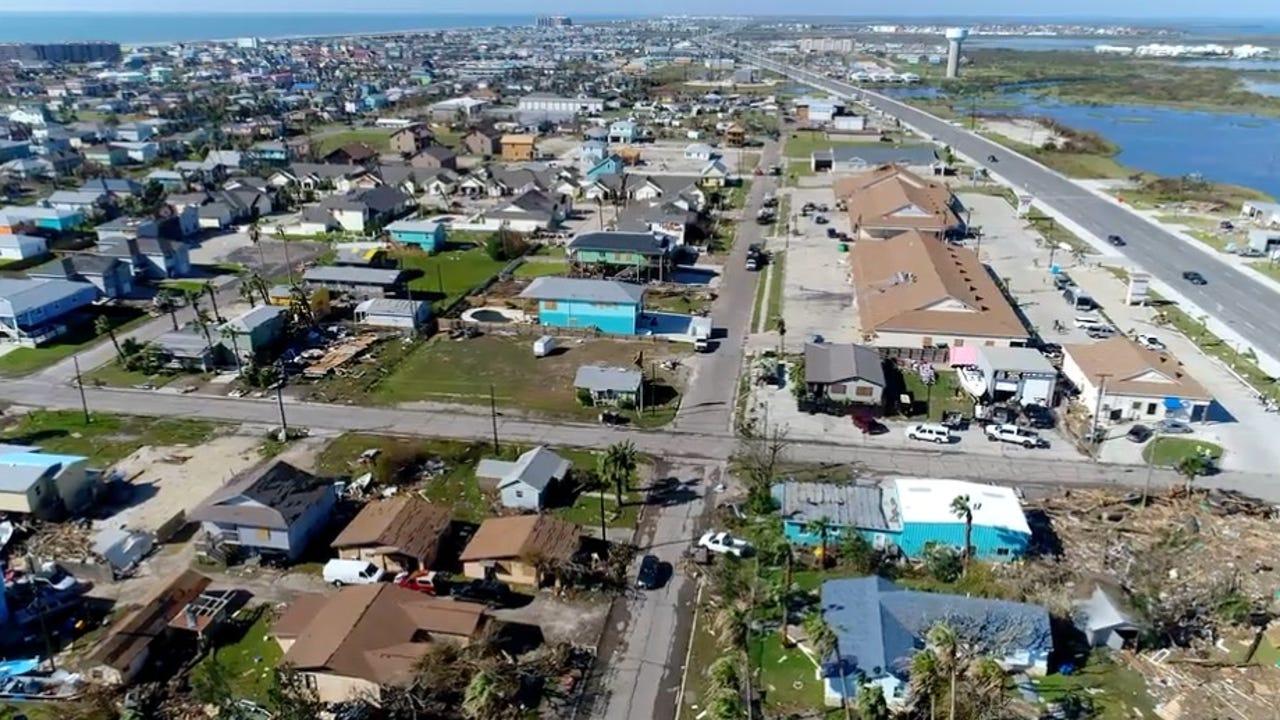 Aerial footage of Harvey damage in and around Port Aransas ...