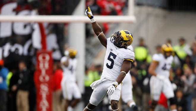 Jabrill Peppers of the Michigan Wolverines reacts after a missed field goal by Ohio State on Nov. 26, 2016, in Columbus, Ohio.