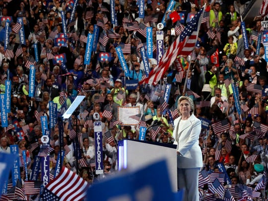 Democratic presidential nominee Hillary Clinton speaks