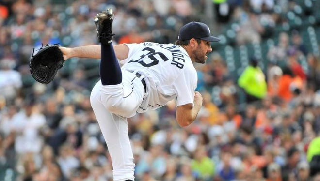 Tigers pitcher Justin Verlander works in the first inning against the Philadelphia Phillies at Comerica Park Tuesday.