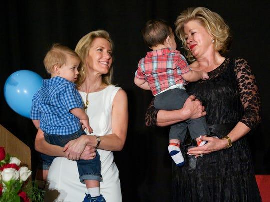 Laura Ingraham, Jan Lupia greet the children