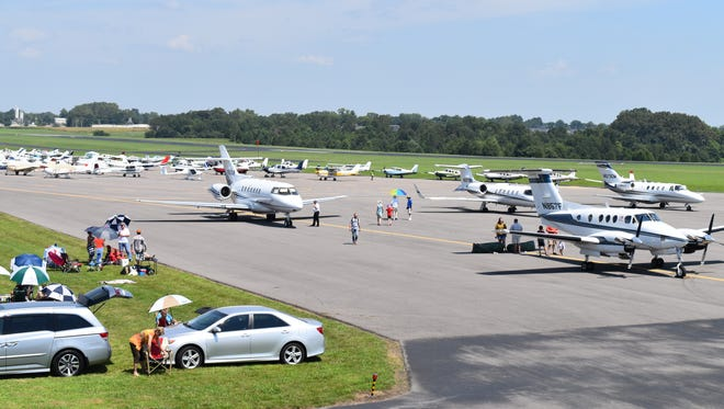 A variety of aircraft, ranging from light-sport aircraft to multi- passenger charter jets, flew into Clarksville Regional Airport Aug. 21 to witness the Great American Eclipse of 2017. More than 160 aircraft landed at the airport to view the eclipse, with planes arriving from as far away as England and Canada.