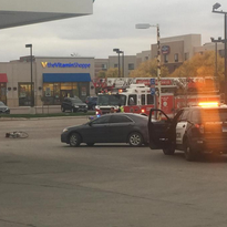Emergency crews were at 41st and Empire after a person was taken to a hospital after a collision with a car Thursday.