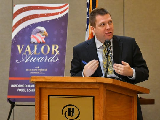 Guest columnist Travis Proctor, CEO of Artemis IT, speaks during the Melbourne Regional Chamber of East Central Florida Government Affairs State of the State Breakfast.