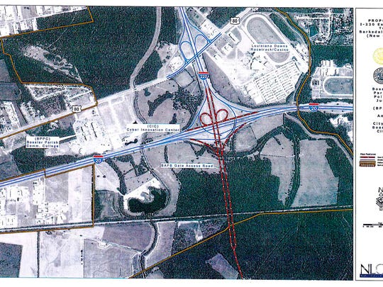 Original plan for expansion of the interchange at I-20 and I-220 in Bossier Parish, by the Louisiana Department of Transportation and Development.