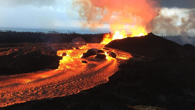 This is Kilauea volcano's Fissure 8 that reportedly reached heights up to 160 feet June 12, 2108.