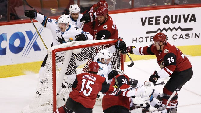 San Jose Sharks' Chris Tierney (50) reacts after scoring a goal against the Arizona Coyotes in the first period on Jan. 21, 2016 in Glendale, Ariz.