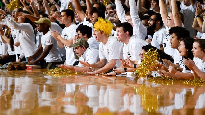 Vanderbilt Commodores fans during the second half against the Tennessee Volunteers at Memorial Gym in Nashville, Tenn., Saturday, Jan. 14, 2017.