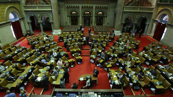 Assembl at the Capitol Building in Albany photographed.