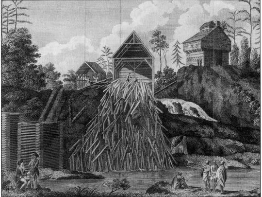 2. Skene sawmill at Fort Ann - from Anburey travels - Ntl Lib of Canada