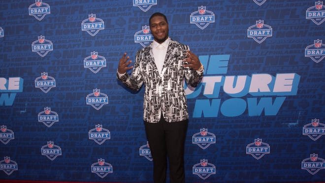 Michigan State's Malik McDowell poses for a picture on the red carpet prior to the start of the 2017 NFL Draft.