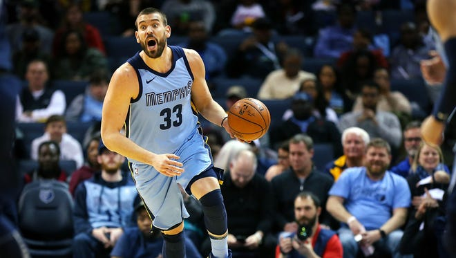 Memphis Grizzlies center Marc Gasol (33) heads down court against the Detroit Pistons during their NBA game Sunday April 8, 2018 at the FedExForum.