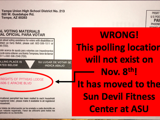 Mailer to Tempe voters with wrong polling location
