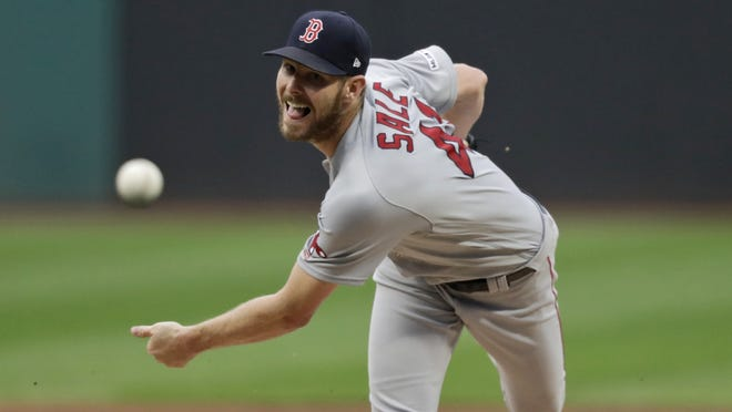 Red Sox ace Chris Sale delivers against the Cleveland Indians one year ago. The left-hander is working his way back from Tommy John surgery that took place in late March.