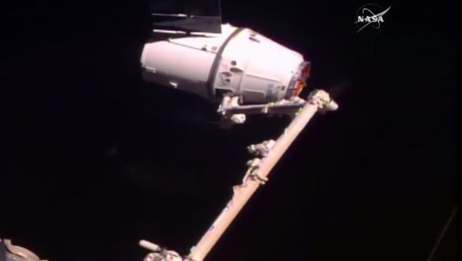 The SpaceX Dragon capsule flying the CRS-10 cargo resupply mission was captured by the International Space Station's robotic arm at 5:44 a.m. EST Thursday, Feb. 23, 2017.
