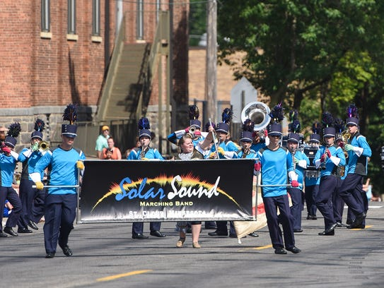 Solar Sound marching band members approach the judging