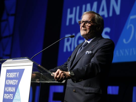 "In this Dec. 12, 2018, file photo, journalist Tom Brokaw speaks during the Robert F. Kennedy Human Rights Ripple of Hope Awards ceremony in New York. Brokaw says he feels terrible that he offended some Hispanics with his comments on ""Meet the Press"" Sunday, Jan. 27, 2019, that Hispanics should work harder at assimilation."