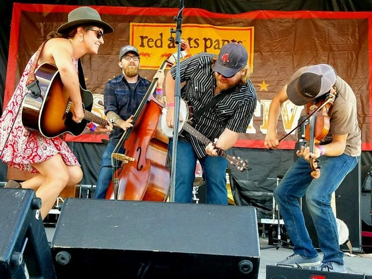 Laney Lou and the Bird Dogs perform on the Main Stage at the Red Ants Pants Music Festival.