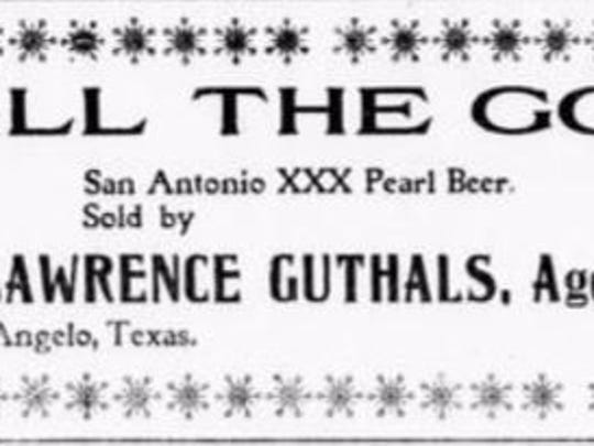 """San Antonio XXX Pearl Beer was """"All the Go"""" in early"""