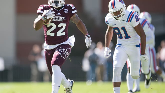 Mississippi State receiver Malik Dear (22) returns a kickoff for a touchdown that was called back for a penalty. Mississippi State played Louisiana Tech in a college football game on Saturday, October 17, 2015 at Davis Wade Stadium in Starkville. Photo by Keith Warren (Mandatory Photo Credit)