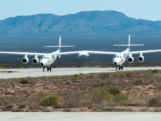 Pictured is the WhiteKnightTwo on Wednesday, April 20, 2016, at Spaceport America in South Central New Mexico.