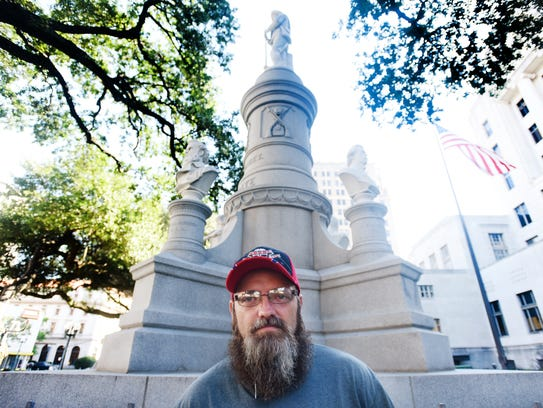 Rex Dukes at the Caddo Parish Confederate monument in downtown Shreveport.
