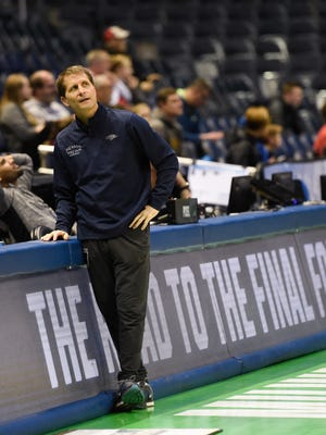 Wolf Pack head coach Eric Musselman watches team practice for their first-round game of the NCAA Tournament at BMO Harris Bradley Center.