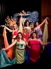 "Manitowoc's Treehouse Theater's production of ""The Little Mermaid Jr.,"" pictured standing from left: Allyson Stokes, Jessica Iannitello and Alexa Malley; kneeling, from left: Addison Fowler and Maya Pagel."