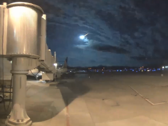 Cameras at Burlington International Airport in South Burlington captured a meteor streaking across the sky early Tuesday morning.