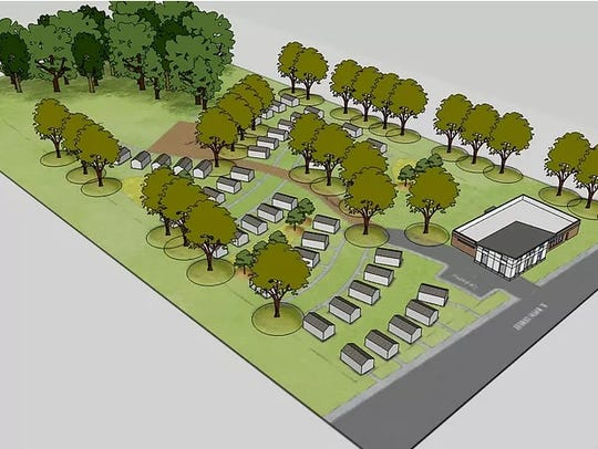 An early artistic rendering of the Base Camp Lindsey community for homeless veterans.