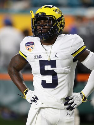 Michigan linebacker Jabrill Peppers warms up before the Orange Bowl against Florida State on Friday, Dec. 30, 2016 in Miami Gardens, Fla. He missed the game with a hamstring injury.