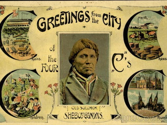 A postcard advertising Sheboygan, a city of the Four Cs- Chairs, Churches, Cheese and Children.