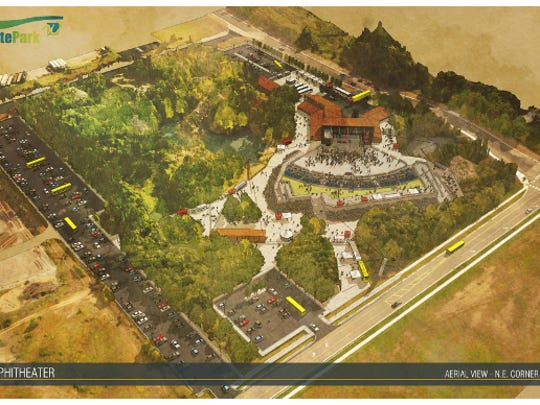 An aerial view from the northeast of the amphitheater projected to open in Waite Park in 2020.