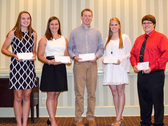 Five college students were awarded $1,000 scholarships at the East Central/Select Sires annual meeting on Aug. 22. Accepting their awards are (from left) Kalista Hodorff, Eden; Kati Kindschuh, Brownsville; Logan Voigts, Platteville; Abigail Martin, Janesville; and Matthew Kramer, Saint Cloud.