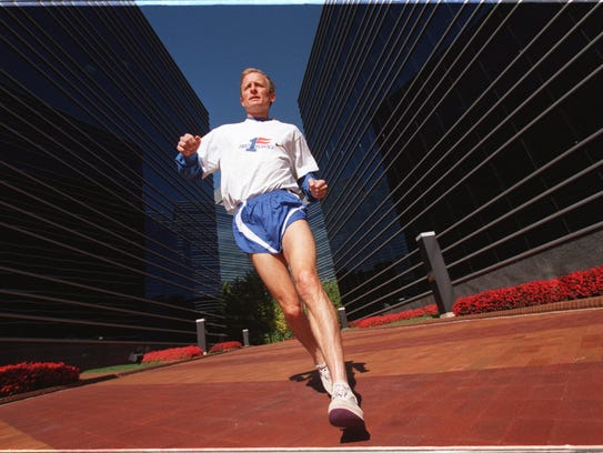 Doug Kurtis in 1997 out on a training run in Dearborn.