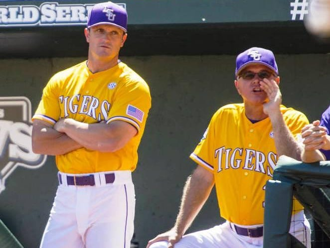 Tuesday, LSU head baseball coach Paul Mainieri donned a jersey for the first time in six years at the College World Series.