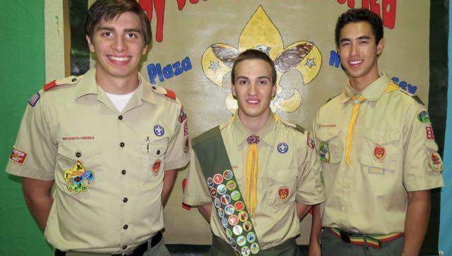 Photo caption: Boy Scouts of America's Troop 32, Middletown, recently honored the following Eagle Scouts for their accomplishments. From left: Matt Grippo, Alex Walker, Dan McKeever.