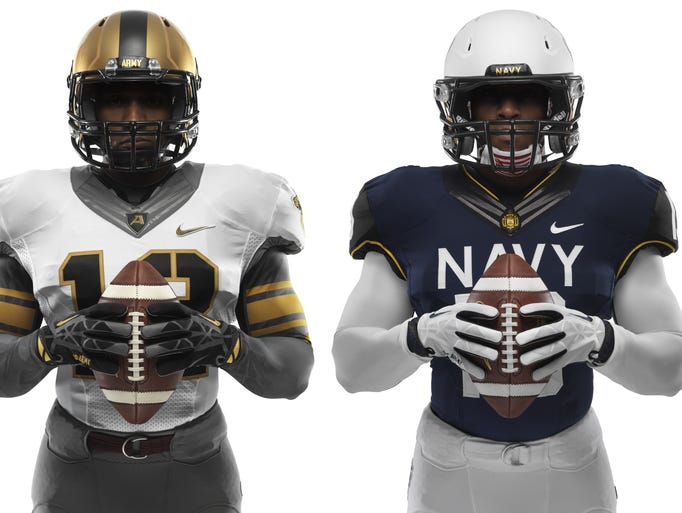 New Nike Football Uniform Designs for 114th Meeting of Army and Navy. Design details honor both teams' military histories.