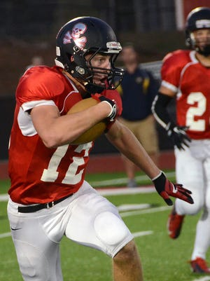 Pinckney's Justin Eagy is part of an effective passing attack for the Pirates. He leads the county with 20 receptions for 346 yards and four touchdowns going into tonight's game at Hartland.