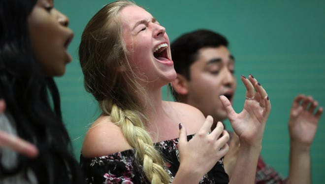 All-Night Yahtzee performers Michaella Saint-Juste, from left, Cameron Frye and Santiago Arbelaez rehearse at the Kuersteiner Music Building on FSU's campus Wednesday, April 11, 2018.