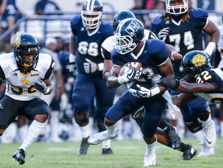 Jackson State wide receiver Romello Shumake attempts