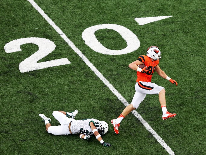 Connor Hamlett makes a big play as Oregon State hosts Portland State in the college football season opener for both teams at Reser Stadium in Corvallis.