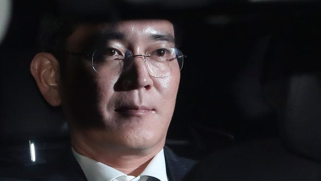 Lee Jae-yong, vice chairman of Samsung Electronics Co., is seen in his car at the Seoul Central District Court in southern Seoul, South Korea, Feb. 16, 2017.