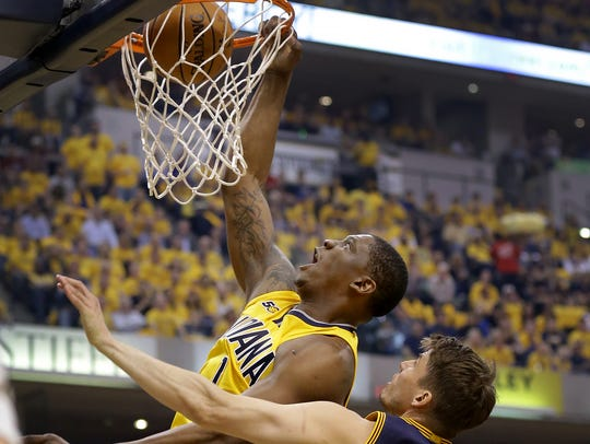Indiana Pacers center Kevin Seraphin (1) dunks against